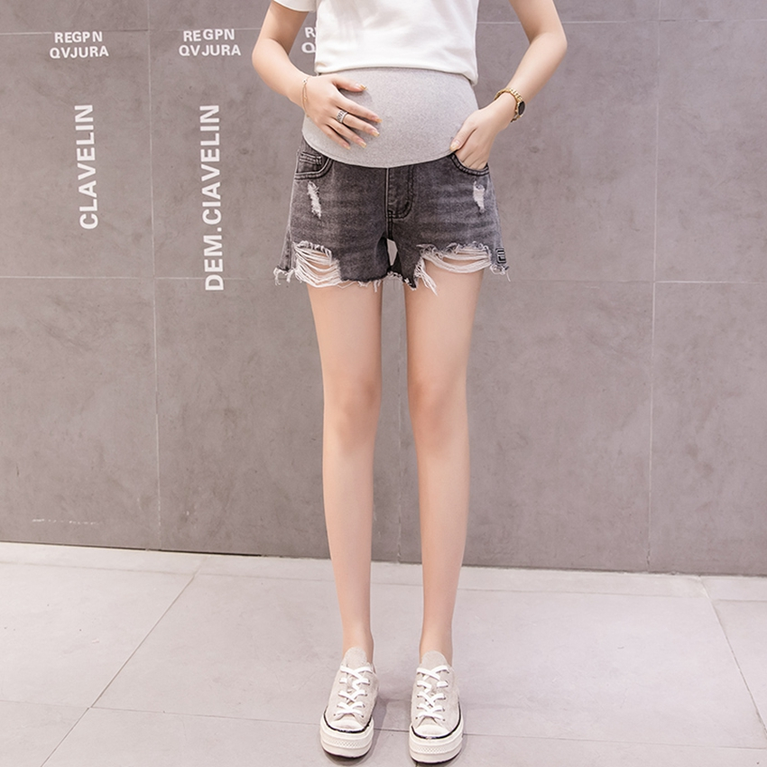 Korean Version of Pregnant Women's Denim Shorts Summer Loose thin Lashion Casual Belly Lift Denim Tide mom Shorts