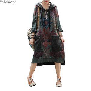 Женское хлопковое винтажное ретро платье, винтажное ретро платье с длинным рукавом и шляпой, женское повседневное лоскутное платье с PocketZ3