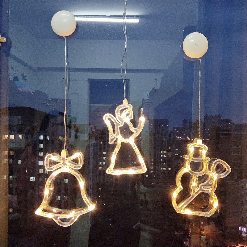 LED Christmas Decoration Bell Sucker Light Indoor Decoration Cupule Light Bell Star Angel Snowman Xmas Decor