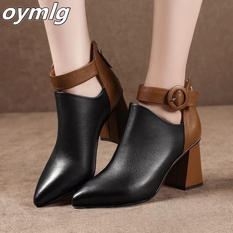 Nouveau automne début hiver chaussures femmes bottes mode dames talons hauts bottes bout pointu femme chaussures de fête femmes bottines | AliExpress