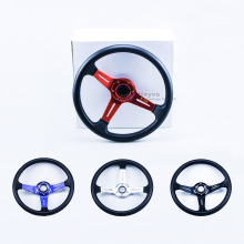 цена на Sport Steering Wheel 14inch 340mm leather Car Racing Steering Wheel Dish Drifting Leather Aluminum Racing Wheel