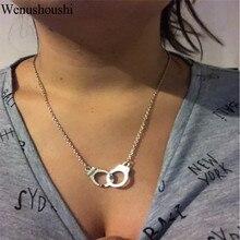Винтажные креативные маленькие наручники в стиле панк с надписью «freedom», ожерелья для женщин, короткие цепочки, наручники, колье для женщин Harajuku