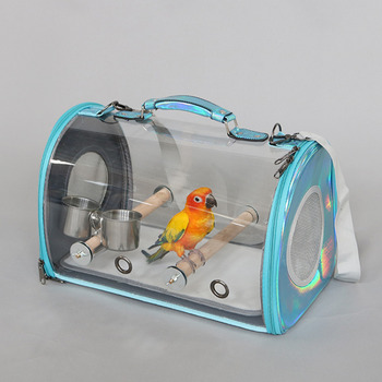 Outdoor Bird Carrier Birds Travel Shoulder Bag With feeder Parrot Cage With Wood Perch Parrot Breathable Space Capsule Backpack