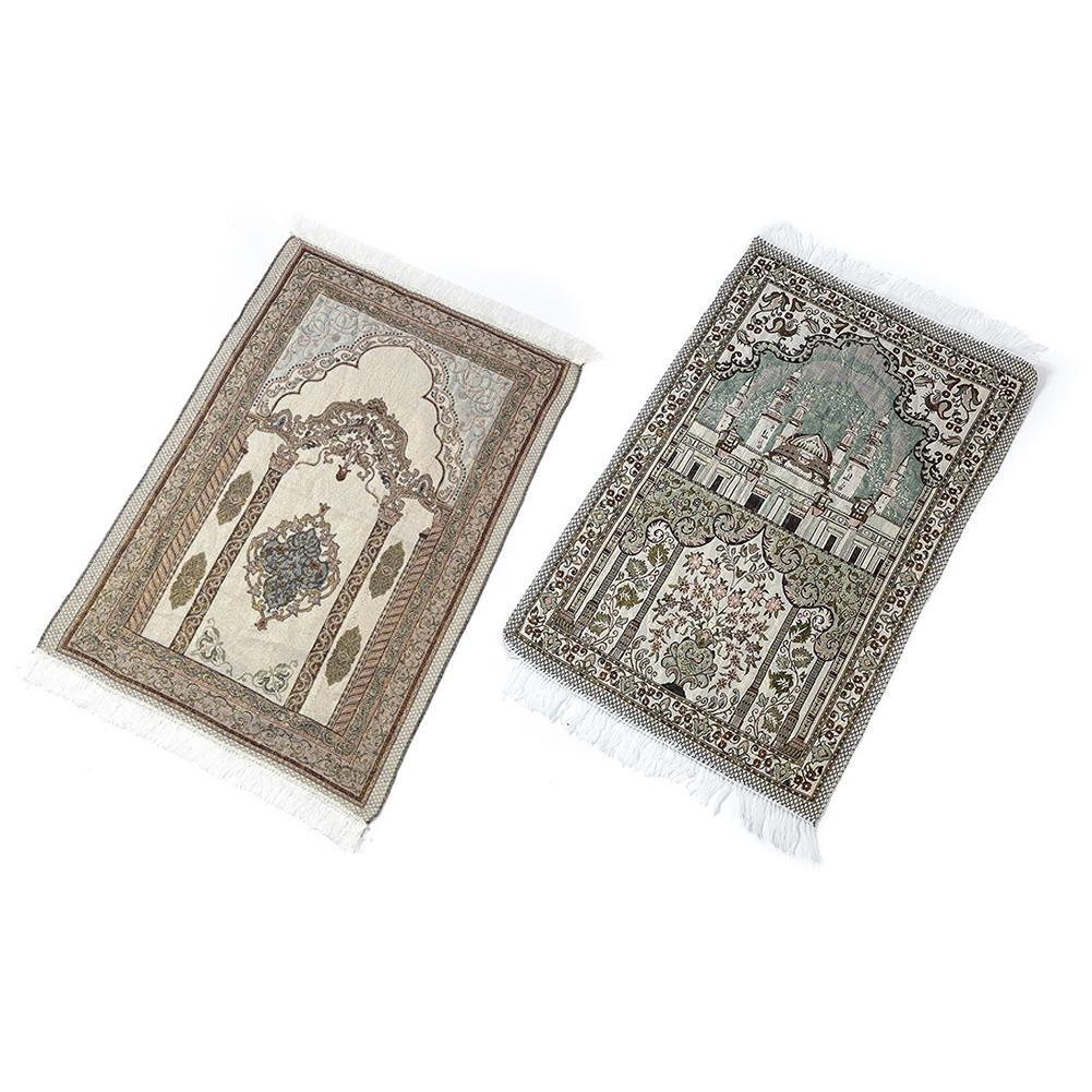 Soft Comfortable Cotton Islamic Prayer Rug Musallah Sejadah Carpet Janamaz LUX Floor Mats Prayer Blanket 110CM*65CM