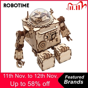 Image 1 - Robotime 5 Kinds Fan Rotatable Wooden DIY Steampunk Model Building Kits Assembly Toy Gift for Children Adult AM601
