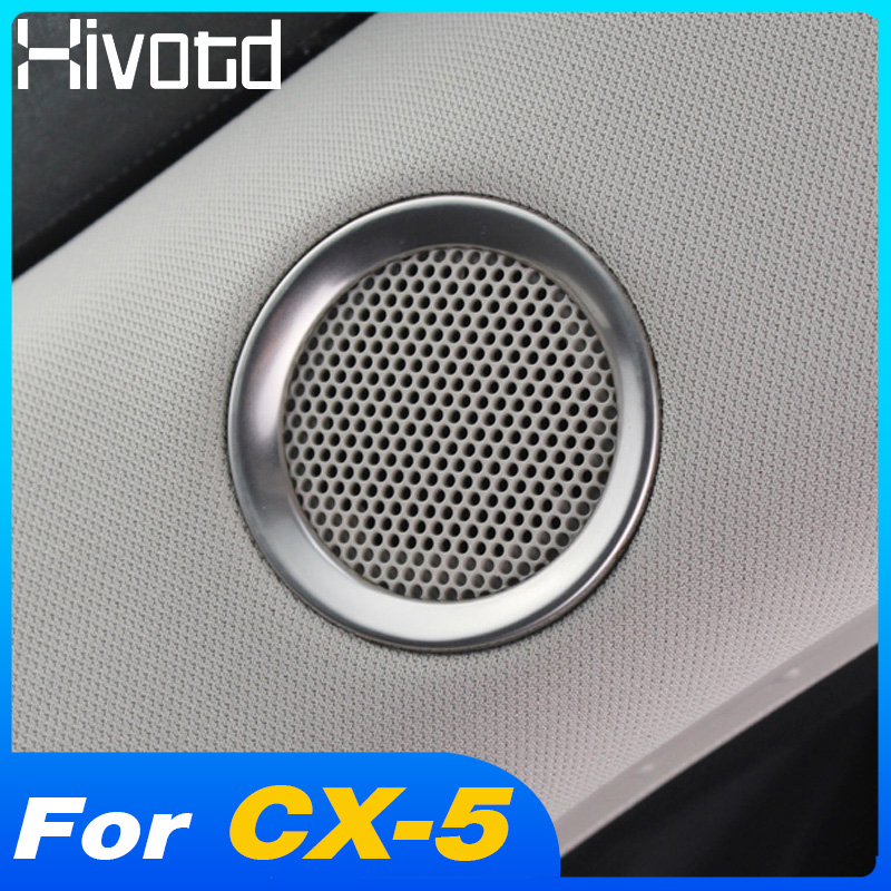 Car Sticker Stainless Steel For <font><b>Mazda</b></font> <font><b>CX</b></font>-<font><b>5</b></font> CX5 <font><b>CX</b></font> <font><b>5</b></font> <font><b>2017</b></font> <font><b>2018</b></font> 2019 Speaker Sound Ring Trim Cover Decoration interior <font><b>accessories</b></font> image