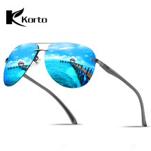 Korto Aluminum Magnesium Rimless Sunglasses Polarized Men Coating Mirror Aviation Driving Sun Glasses Eyewear Accessories shades
