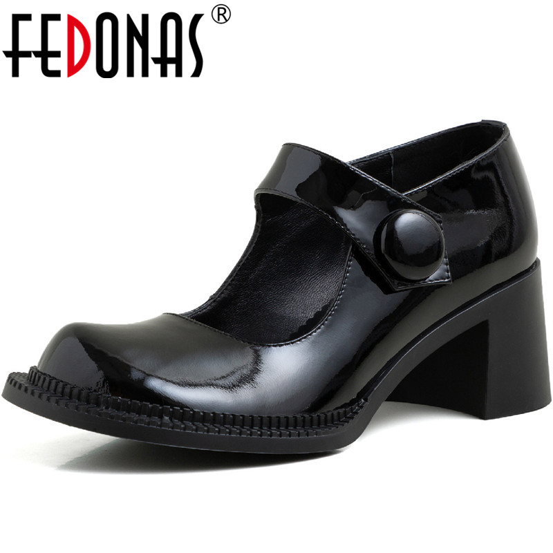 FEDONAS Slip On Women Cow Patent Leather Pumps Spring Summer High Thick Heels Pumps Top Quality Basic New 2020 Shoes Woman