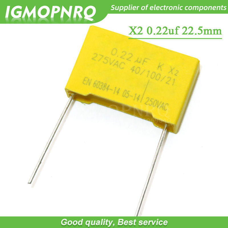 10pcs 220nF capacitor X2 capacitor 275VAC 220NF Pitch 22.5mm X2 Polypropylene film capacitor 0.22uF image