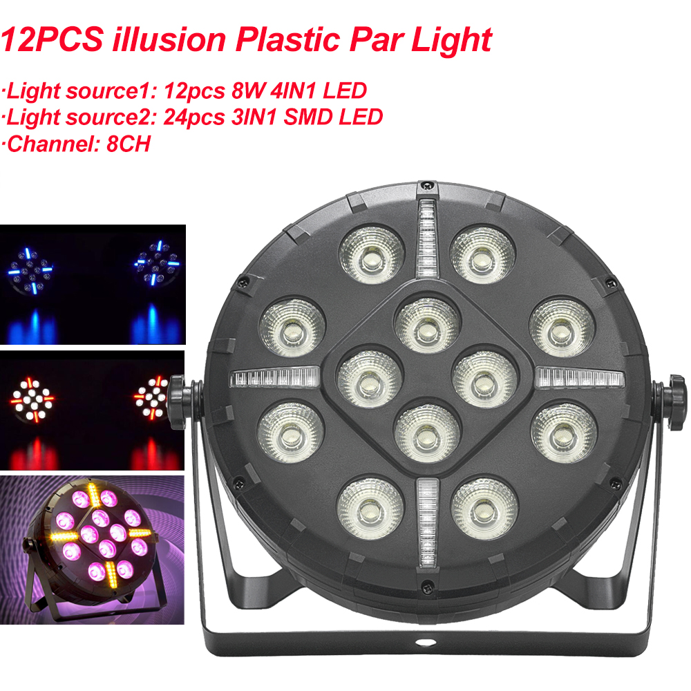 Mini 12PCS Illusion Plastic Par Light DJ Party Lights RGBW Disco Effect Stage Lighting With 8 Channels Decoration Sound Active