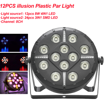 Mini 12PCS illusion Plastic Par Light DJ Party Lights RGBW Disco Effect Stage Lighting With 8 Channels Decoration Sound Active 12pcs illusion plastic par light rgbw 4in1 disco wash light equipment 8 channels dmx 512 led effect stage dj party lighting