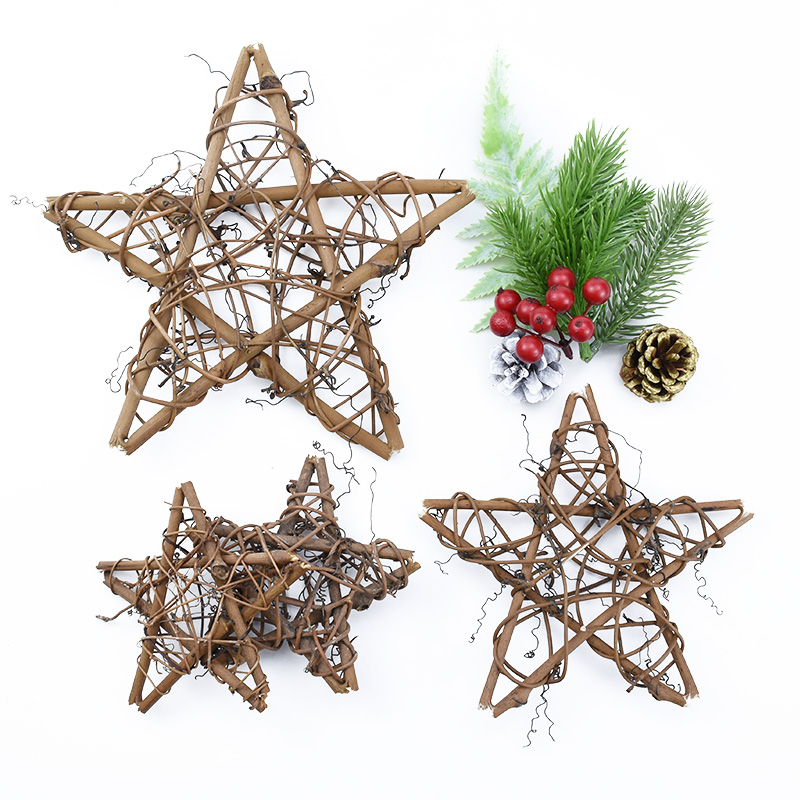 10/15/20cm Artificial Flowers For Wall Rattan Star Frame Wreaths Christmas Decoration For Home DIY Handmade Door Hanging Wedding