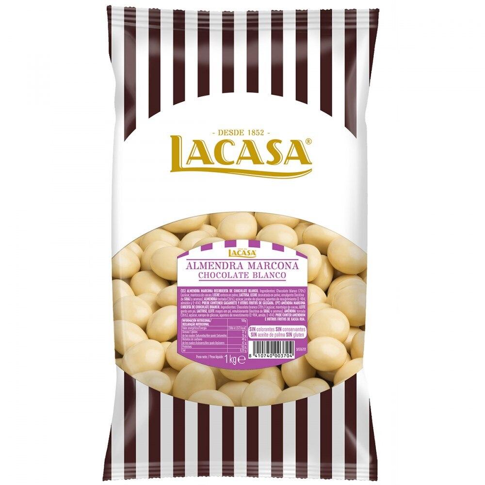 Lacase almond Marcona white Chocolate · 1Kg.