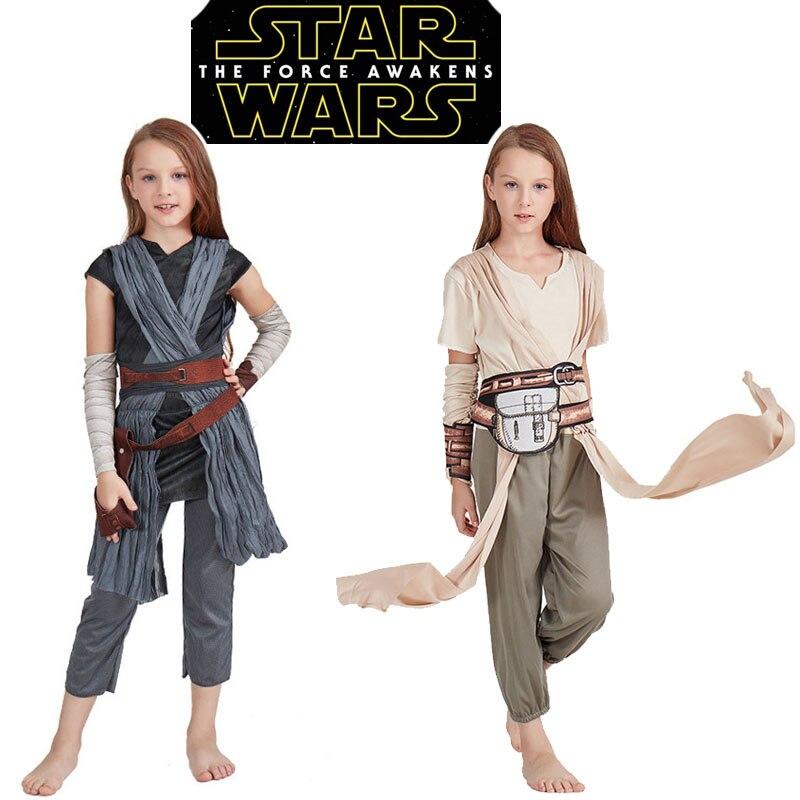 The Force Awakens Star Wars Rey Costume Cosplay Halloween Costumes for Kids Girls Full Set