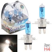 цена на 2pcs 12V H4 60/55W 6000K White Light Super Bright Car Xenon Halogen Lamp Auto Front Headlight Fog Bulb for Cars Vehicles SUV