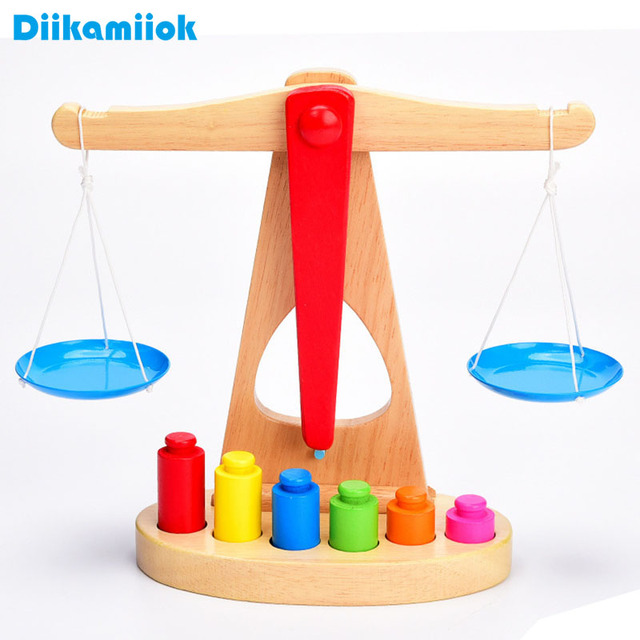 Hot Wooden Balance Scale Set Baby Montessori Educational Learning Mathematics Toys Kindergarten Weighing Math Toy for Children