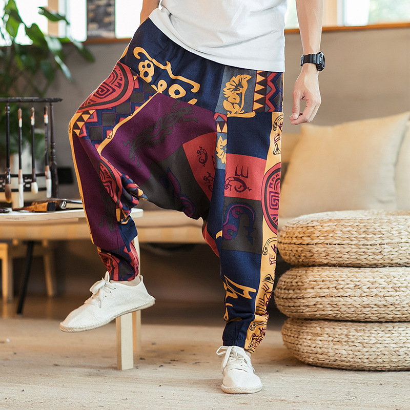 2020 Spring Mens Trousers Vintage Printing Long Linen Pants Casual Loose Fit Harem Pants Streetwear Hip Hop Drawstring Trousers