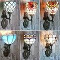 Tiffany Средиземноморский настенный светильник с одной головкой  американский арт  фонарь для зала  прикроватное зеркало для ванной  переднее ...