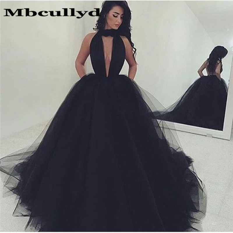 Mbcullyd Sexy Halter Neck Long   Prom     Dresses   2019 Formal Backless Evening   Dress   Party Gown Black Tulle Vestido longo festa