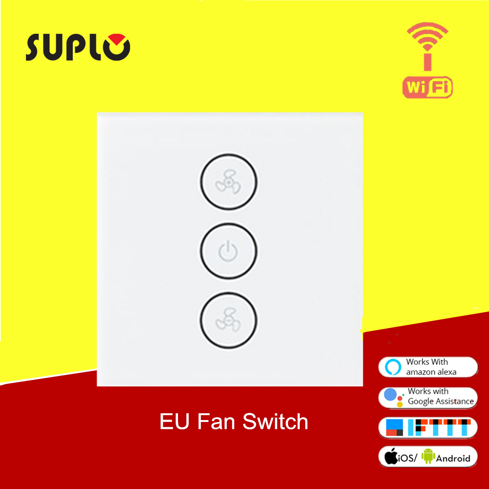 SUPLO EU WiFi Smart Ceiling Fan Switch APP Remote Timer And Speed Control Compatible With Alexa And Google Home No Hub Required