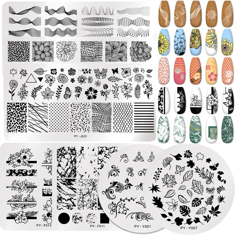 1Pc Flowers Geometry Stamping Plate Stainless Steel Nail Picture Stamp Templates Nail Art Design Image Plate DIY Stamp Plate