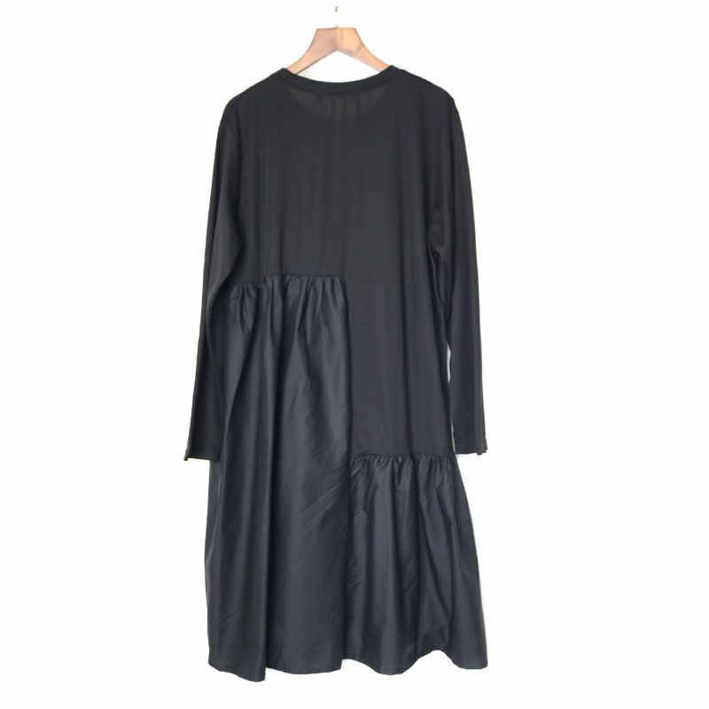XITAO лоскутное Плиссированное узкое миди платье мода плюс размер матч все винтажные платья Женская одежда 2019 Пуловер Осень Новый GCC1475