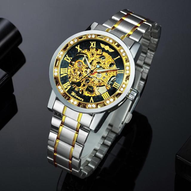 الفائز الرسمي الملكي الهيكل العظمي ساعة ميكانيكية الرجال كريستال مثلج خارج رجالي ساعات العلامة التجارية الفاخرة الصلب حزام الأعمال على مدار الساعة 3