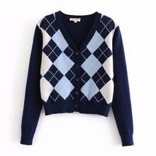 Cardigan Sweater 2020 new womens sweater fashion plaid V neck cardigan sweater elegant ladies wild Tops sweaters coat