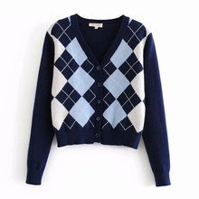 Cardigan Sweater 2020 Baru Wanita Sweater Fashion Kotak-kotak Leher V Cardigan Sweater Wanita Elegan Liar Atasan Sweater Mantel(China)