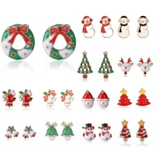 1 Pair Cute Cartoon Christmas Rhinestone Earrings Stud Jingle Bells Deer Antler Enamel New Year Gifts  2019
