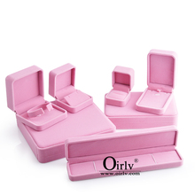 Oirlv Jewelry Gift Box Pink Velvet Box Engagement Ring Necklace Earring Bracelet Packaging Storage Box Jewelry Organizer