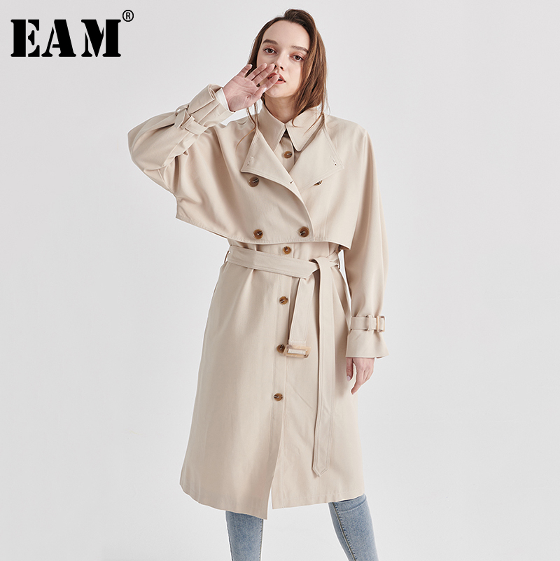 [EAM] Women Double Breasted Aprciot Big Size Trench New Lapel Long Sleeve Loose Fit Windbreaker Fashion Tide Spring 2020 1S103