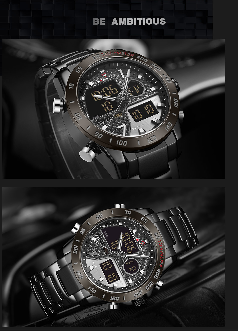 Hea054b37bb114f04a16e4852ee96c81d3 NAVIFORCE Men Digital Watch LED Sport Military Mens Quartz Wristwatch Male Luminous Waterproof Clock Watches Relogio Masculino