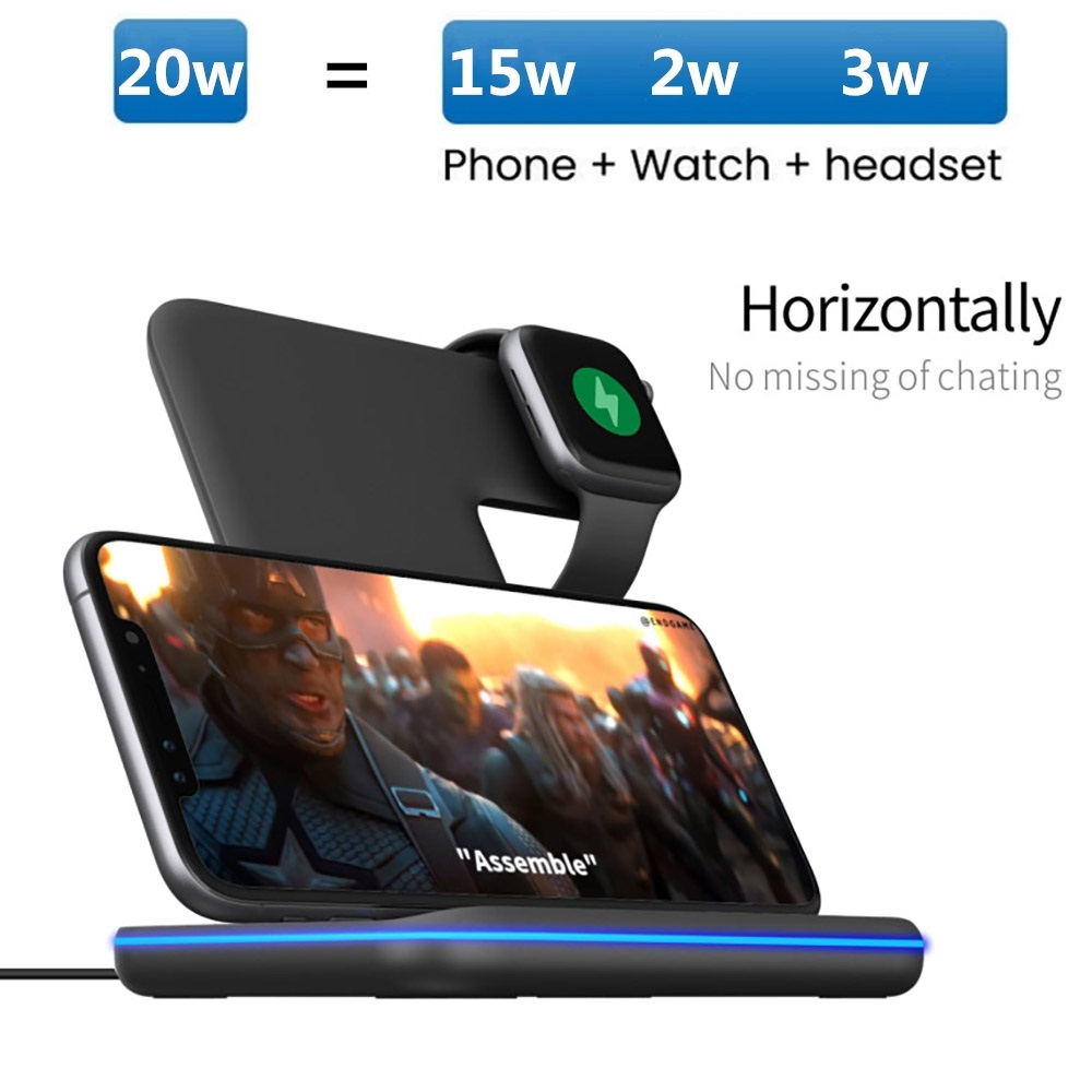 FDGAO 20W 3 in 1 Qi Fast Wireless Charger Pad Dock Station For iPhone 12 11