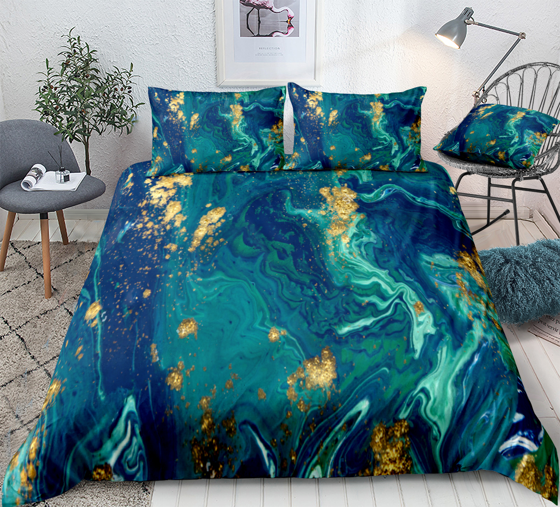 Blue Marble Duvet Cover Set Liquid Marble Bedding Blue Gold Abstract Quilt Cover Queen Home Textiles Green Bed Set King Dropship Bedding Sets Aliexpress