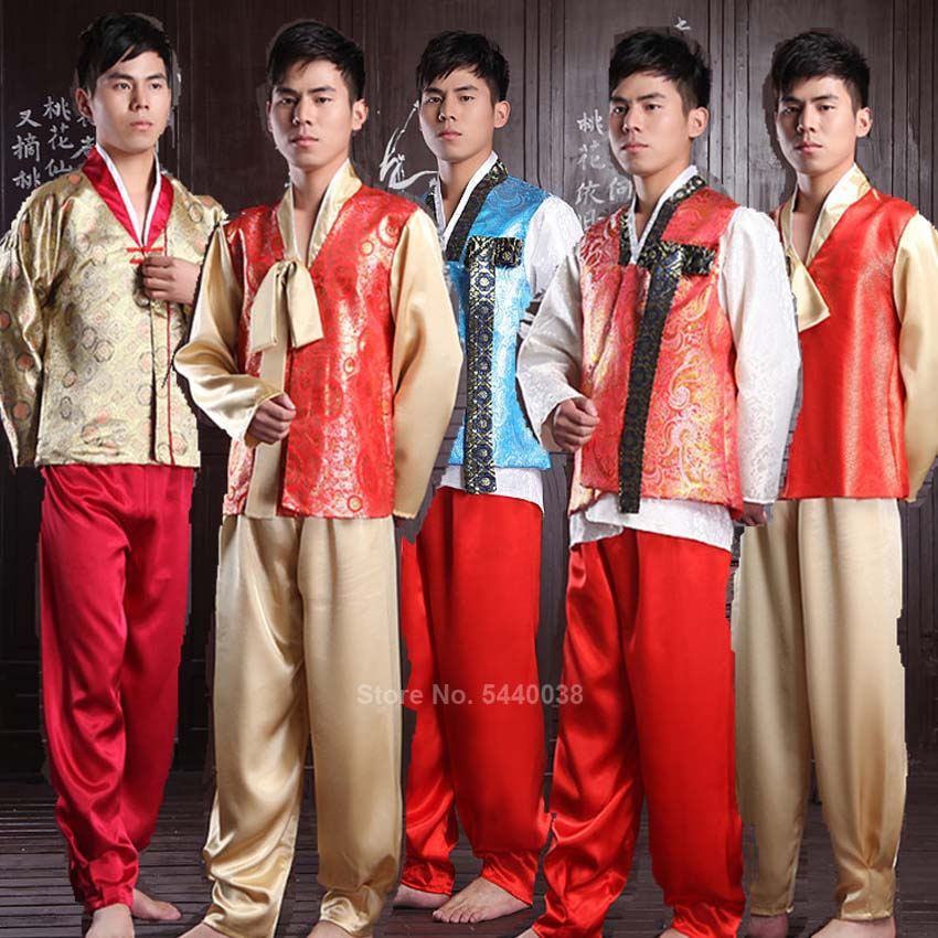 Traditional Korean Style Hanbok Costumes For Men Adult Vintage Stage Performance Dance Asian Dress Embroidery Clothing