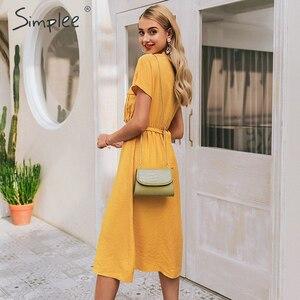 Image 3 - Simplee V neck solid women dress Vintage elegant button belt midi summer dress Casual streetwear office ladies pockets dress