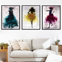 Dancing Skirt Girl Colorful Abstract Canvas Painting Art Print Nordic Poster Picture Decoration Modern Home Decoration No Frame dancing butterfly abstract canvas painting wall art poster and print scandinavian decorative picture modern home decoration
