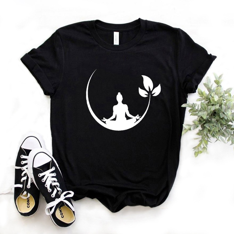 Buddha Yoga Lotos Print Women Tshirt Cotton Casual Funny T Shirt Gift For Lady Yong Girl Top Tee Drop Ship S-936