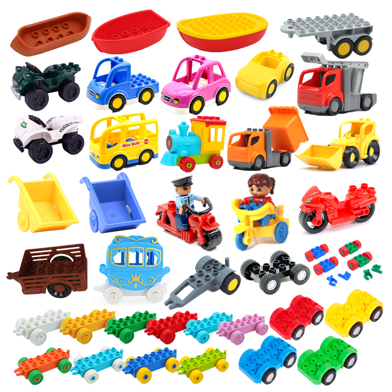 Car Model Children Assemble Toys Big Building Blocks City Traffic Parts Vehicle Trailer Chassis Boat Motorcycle Compatible brick