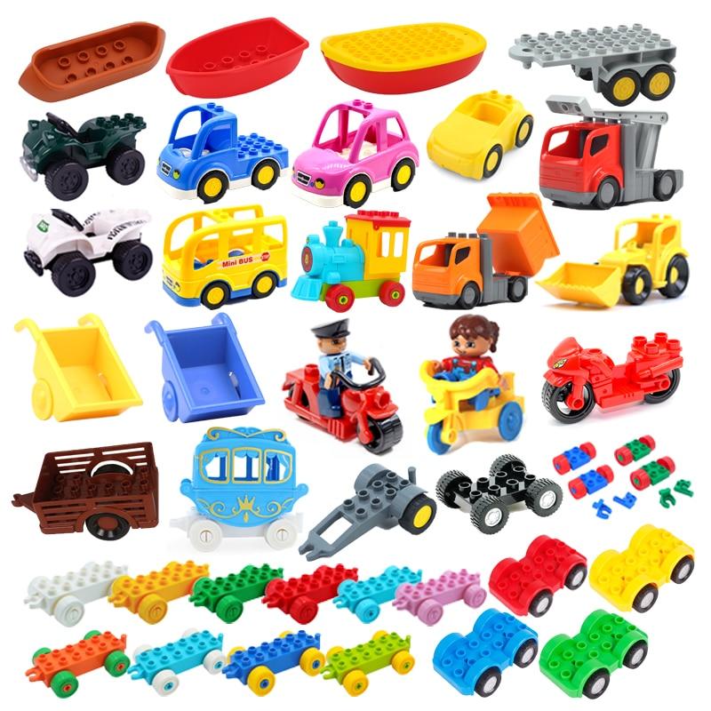 Модель автомобиля, Детские сборочные игрушки, большие строительные блоки, городские дорожные детали, автомобильный трейлер, шасси, лодка, м...