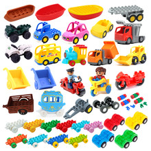 Modelo de carro crianças montar brinquedos grandes blocos de construção da cidade peças de tráfego veículo reboque chassi barco motocicleta compatível tijolo