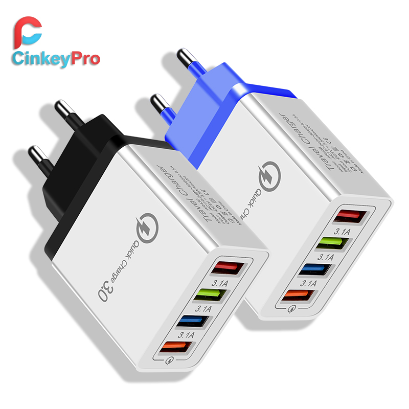 CinkeyPro 4 Ports USB Charger for Samsung iPhone Huawei Wall Mobile Phone 5V/3.5A Universal Adapter Fast Charging-in Mobile Phone Chargers from Cellphones & Telecommunications