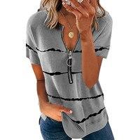 NOVEDAD DE VERANO camiseta de moda a rayas de impresión cremallera de manga corta Tops de cuello redondo de las señoras Casual Tops camisetas