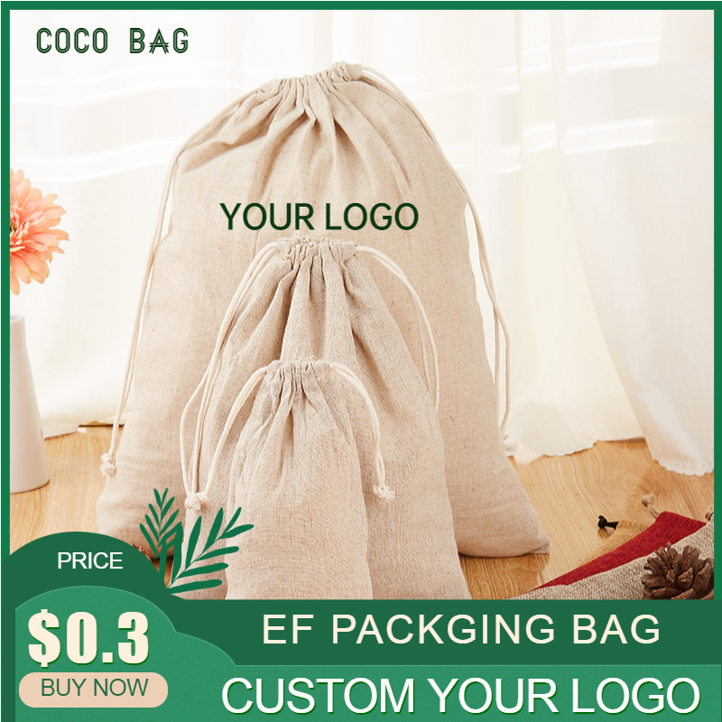 Natural Linen Drawstring Bag Jewelry Pouch Cosmetic/Storage/Wedding/Packing/Gift/Earrings/Bead Sack Pocket Custom Logo Print 50p