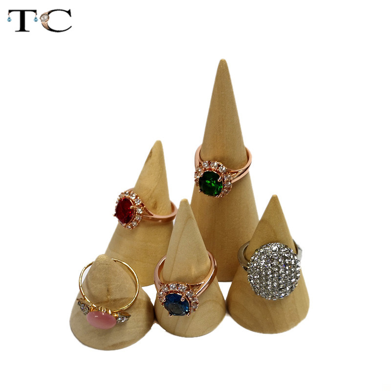 Natural Unpainted Wooden Ring Jewelry Display Rack Stand Cone Shape Holder Organizer 5 Size