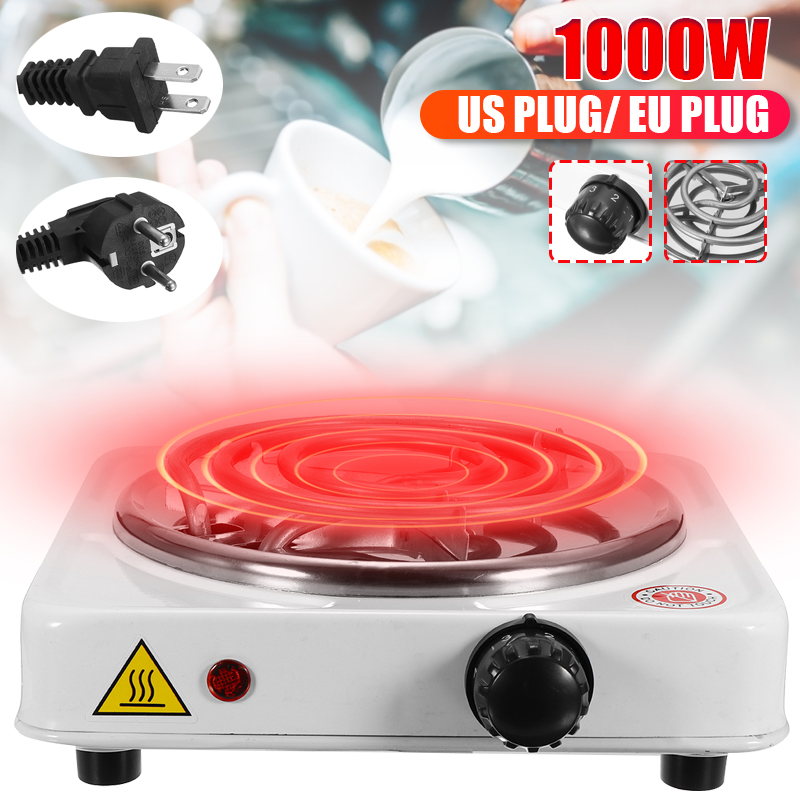 Electric Stove 1000W Portable Iron Stove Burner Hot Plate Kitchen Cooker Milk Soup Coffee Heater US/EU Plug Durable