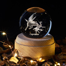 Capricorn Crystal Ball LED Night Light Wooden Innovative Birthday Gift 12 Constellation Planetarium Christmas Gift 2020 New Lamp