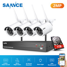 SANNCE 8CH NVR Ultra HD 2MP CCTV Wireless System AI Human Detection Outdoor Wifi IP Security Camera Set Video Surveillance Kit