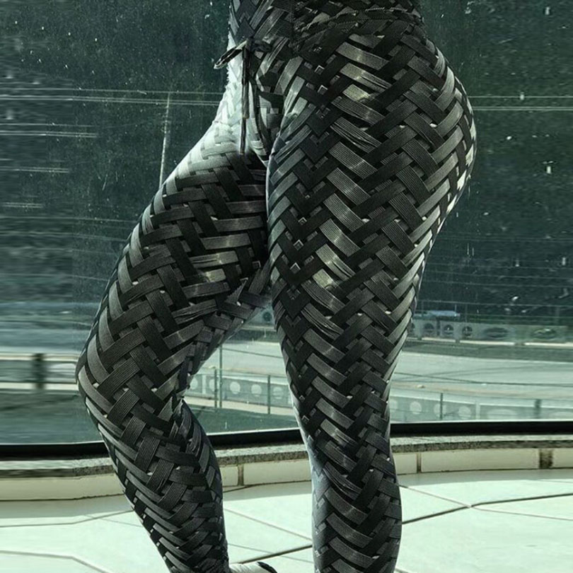 New product four needle six line digital braid printing raises buttock high waist movement   leggings   woman